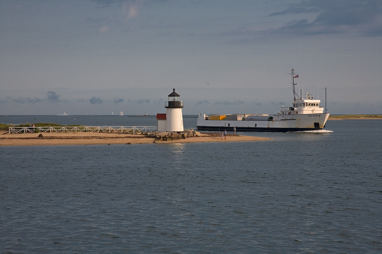 <h3>First Freight Boat</h3> Everything has to come to Nantucket by either boat or airplane.  This boat goes back and forth all day carrying trucks full of the stuff that makes the island go.  24 August 2006