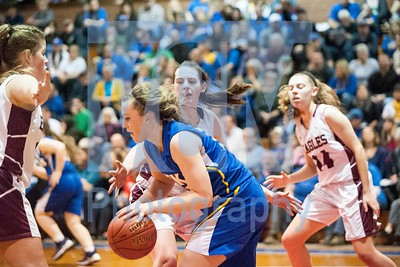 Blue Mountain Union's sophomore Lauryn Alley drives to the basket against Arlington on Monday night at the Barre Auditorium.  Josh Kuckens/Staff Photo