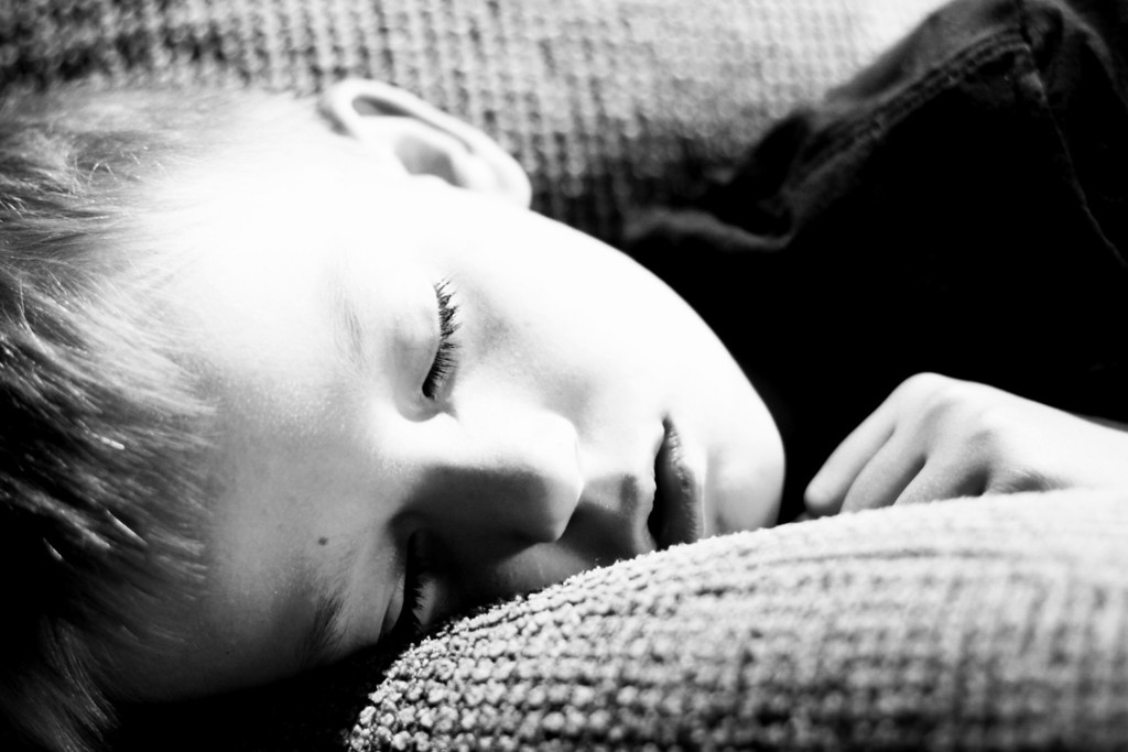 2010.06.02 - Day 82 - Been down all day with a stomach virus.  But, can't let that stop my photo of the day!  This is a quick capture of my son snoozing on the couch.