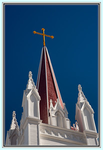 "March 22, 2013  ""An instinctive taste teaches men to build their churches with spire steeples which point as with a silent finger to the sky and stars.""  ~ Samuel Taylor Coleridge  This is the steeple of the Saint Mary's in the Mountains church in Virginia City, Nevada.  It is a wonderful church that was originally built in 1868, burned in 1875 (when nearly the whole town was lost to fire), then rebuilt again in 1876.  A testament to the tenacity of the people of this city.  The church is still in use today.  To see the rest of church, click here:  http://lgood.smugmug.com/Architecture/Buildings/7752393_7Pg76q#!i=2402005699&k=Vxc3pLB  Have a blessed day today my friends.  Linda"