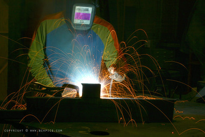 "November 30, 2007  IMG_8019c - ""Welding Self-Portrait""  Some welding at work today - Check out the colorful (non)welding attire......and really mom, I'm a programmer- nevermind all those sparks :)  I think this is my first (ever?) self portrait...not sure it counts, though--with the mask, and all..."