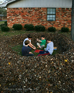 "December 2, 2007  IMG_8175b - ""Checkers in the Leaf Fort""  -For a brief version of the story, read just the first and last sentences :)  How did all this start...well, Ryan (not mine, gray shirt) says to Alex (mine, white shirt) we should rake up all these leaves, make a huge pile, and get in the Guinness Book of World Records.  Trevor (mine, green shirt) says Oooooohh, I'll help.  The three of them raked the entire yard (which is really cool, I might add).  Unfortunately, the size of the pile didn't impress them when they were done.  So they began raking leaves from the neighbor's yard.  That went on for quite some time, when one of them spotted some already bagged leaves on the curb at another neighbor's. Ryan and Thomas (not mine, blue shirt) go knock on the door and ask permission to take the already bagged leaves--which they got- (See for yourselves).   -- Pretty ingenious, I thought.  Another hour or so of raking, bagging, hauling, and dumping and they've got a pretty good pile going, but they're beginning to realize that we just don't have the trees to support their endeavor.  Trevor has already quit raking and hauling, choosing instead to turn the leaf pile into a nice little fort (using only a hockey stick).    The four of them have kind of a meeting at the ""fort"", and although I couldn't quite hear the whole conversation, a minute or so into it, Trevor (the youngest and by far the loudest) says... ""Guinness book, Schmuinness Book...Lets just play checkers""."