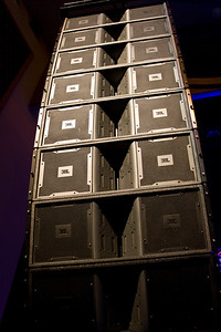 November 18, 2008 (3 of 3) It's not all about lights!  This is a shot of one side of a speaker array that's here.  There's 24 speakers total, plus 4 huge subs.  Basically, after today, I'll be blind and deaf.