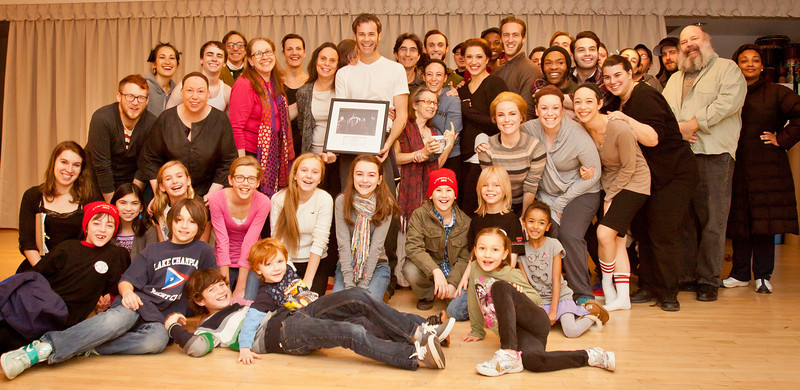 December 15, 2012 - The cast and crew of A Christmas Carol at McCarter Theatre celebrating Jimmy Ludwig's 200th Performance.