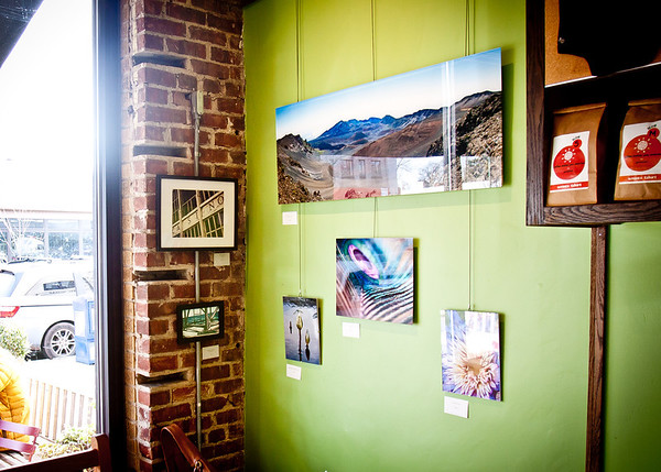 December 6, 2012 - Some of my photos on display at Small World Cafe on Nassau Street in Princeton.  Go get yourself a cup of a joe, and see these prints in real life!  (Without the glare...)