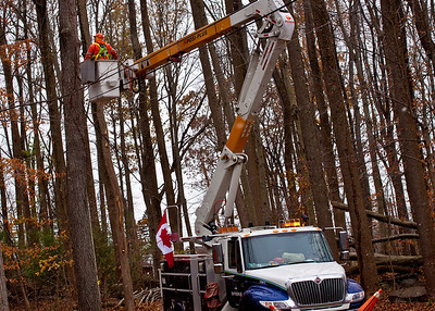 November 7, 2012 - 9 days with no power.  Cheers to Canada for sending their guys down to fix our power lines.