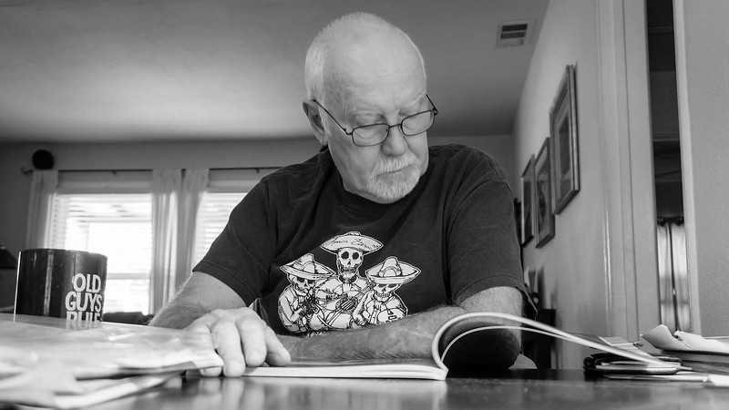 Home Professor<br /> <br /> (December 20, 2017) Jim's studying up on his hot rod history. There must be a test coming up.