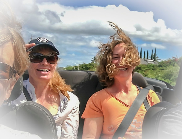 The downside of convertible travel …. low visablitly due to hair gone wild…. :)  And yes... Mother always got the front seat, age trumps youth in our family... lol 01/18/19
