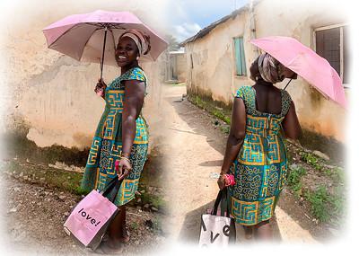 Joyce & her pink umbrella