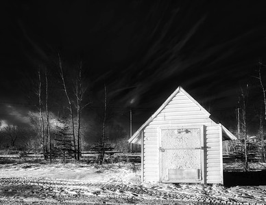 the Little Shed at night