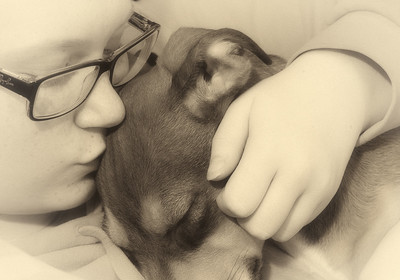 Kisses for a sleeping puppy.... 03.16.13