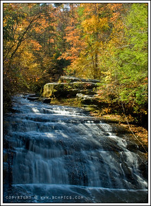 November 9, 2008  Waterfall in Fall-  Kinlock Falls, Bankhead National Forest in Northwest Alabama  Post: -Crop ~5% -Saturation +5 -USM 50/2.5/5