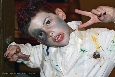 October 31, 2008  Halloween- Trev as a dead artist- (A peaceful dead artist)