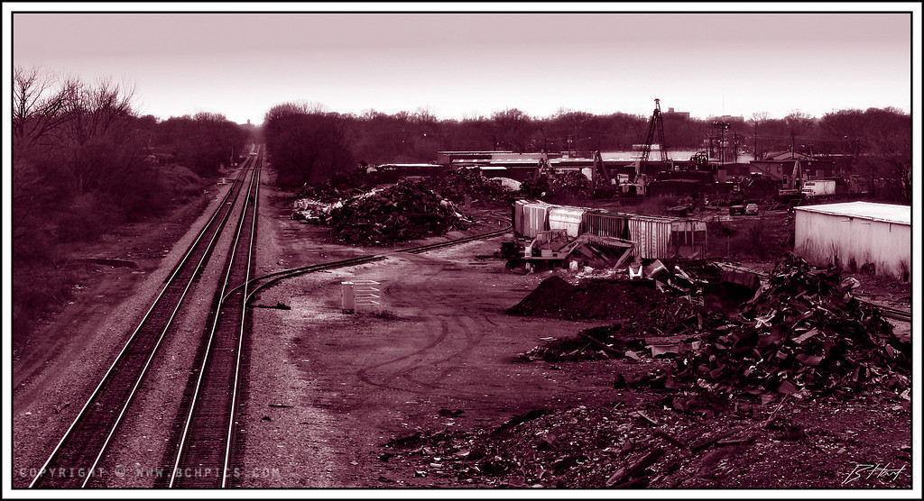 February 29, 2008<br /> <br /> The Scrap Yard- <br /> In Duotone (Magenta)-<br /> <br /> Originally wanted a more rusty color for the duotone color...didn't look just right-  Maybe this doesn't look just right either? ...but I liked it-
