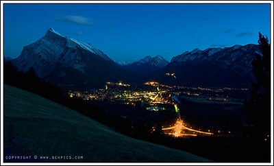 October 16, 2008  Banff at night, from a few feet...uh, I mean meters, up Mt. Norquay-  Probably not an original shot...  Post: -Crop -Clarity +25 -High pass filter on the top third of the image   (Blended at 50% opacity in overlay mode) -Noise reduction (despeckle)