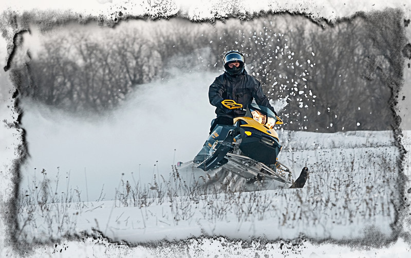 Boys & their Toys...  For the first time in 2 years, we finally have enough snow to keep the snowmobilers in the family happy. Nice to know there is one great thing about all this snow...:-))  Thanks so much for all your kind words on my winter shots.... I appreciate them all so very much!  Wow! Last day of January.... Yaayy!!!  01.31.11 (Found this frame in OnOne PhotoFrame, which I'm trying out.... maybe a little too much frame??)