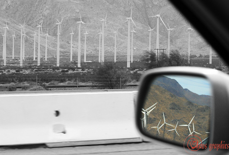 """Harnessing the Wind<br /> <br /> (Oct. 1) Just a fun shot from the passenger seat. The driver did not share my enthusiasm for the windmills and wasn't about to stop. I switched this out from the other daily shot, because when I saw it on my monitor at work, I saw how washed out the the first pick looked. Here it is:<br />  <a href=""""http://chaosgraphics.smugmug.com/gallery/1841037/1/99307547"""">http://chaosgraphics.smugmug.com/gallery/1841037/1/99307547</a><br /> I'm going to see if I can fix up a bit here where I can actually see it!"""