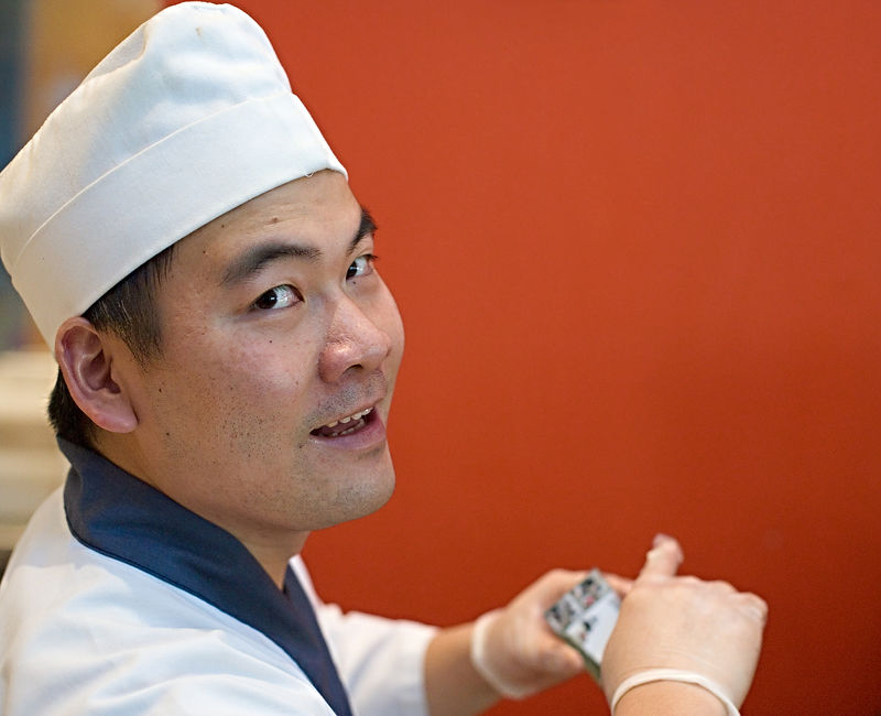 <h3>MIT Sushi Chef</h3>  I've been stalking this guy for a week.  He owns a concession in the <i>Forbes Family Cafeteria</i> in the Gates Building at MIT.  Well, actually, it's the Gates Building in the Stata Center...  16 February 2006