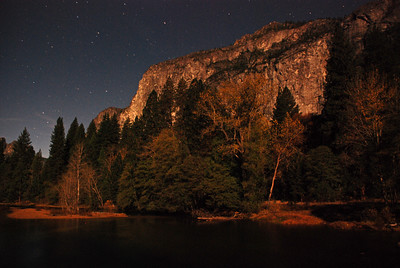 September 1  At long last, today I created a gallery for Yosemite!!  This gallery will probably NEVER be complete.... I LOVE YOSEMITE!!  One of my recent visits to Y.V. happened to be during a full moon.  I did two 'practice sessions' on consecutive nights; layering with warm clothes before heading out!  On the first night, I managed to break my tripod :( This shot was taken on the second night, using a big knit scarf to support the camera. And with that, I was certainly limited as to where I could set the camera up; was scouting for posts, rocks, stumps, etc. My attention was on the full moon rising to the left of half Dome; also hoping to get some water reflection. I was somewhat pleased with the results---especially since I had never done any night photography previous to this.  Being most exceptional was in turning around, to see this:  looking towards the southern part of the Valley, with the moon behind me!  WOW!  The icing on the cake was that during the several hours I spent out there, I had all of Yosemite Valley completely to myself!  --except for an occasional car in the distance--  An incredibly sensational and memorable experience!  The beginnings of a Yosemite gallery