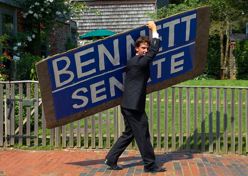 <h3>Shoestring Campaign</h3>  This is Doug Bennett, running for state senate for Cape Cod, Nantucket, and Martha's Vineyard.  I've seen him lugging his big sign all around town, dressed in his suit on hot days.  It does grab the attention, but I don't envy a Republican running for office here.  2 July 2006