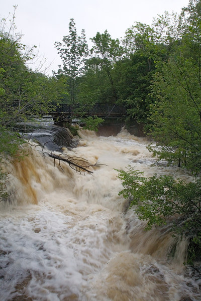 <h3>It Rained and it Rained</h3> Charles River at the Lower Falls foot bridge.  This has been a very wet spring around here.  9 June 2006