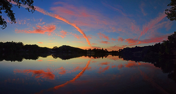 August 17  The sunset show was spectacular tonight at Atascadero Lake!  Hey...Art H.---every time I shoot a pano, I think of you ;-)  3 (verticle) shot panorama