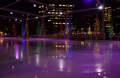 January 4  While strolling through downtown Salt Lake City we found a beautiful park area  with MANY trees which were colorfully laced with lights and an ice skating rink. This shot is SOOC.