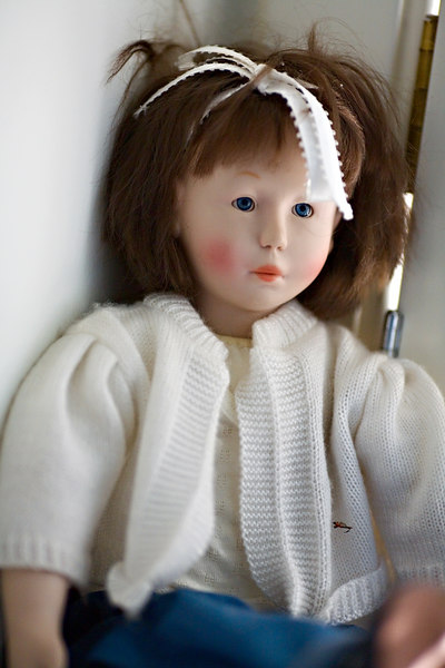 <h3>The Unloved Doll</h3> I've always thought this doll was sort of appealing, but my daughter hated it.  She said she had a bad nightmare about it.  So it's been in an far corner of an infrequently visited room for ten years.  5 May 2006