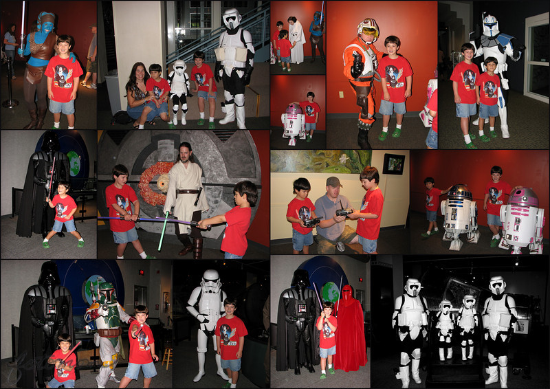 "09/12/10 - Heroes and Villains Oh My!<br /> The boys and I had a super time at the Museum of Life and Science in Durham yesterday for their yearly event Heroes, Villains, and Special Effects.  As you can see, there were many Star Wars characters on hand for the kids to pose with.  I love seeing adults get into the act like this!  The Carolina Garrison did a great job!<br /> <br /> We were especially thrilled to see the pink droid, R2-KT, for the first time.  She was built by some very loving people for a little girl, Katie Johnson, who had cancer.  Although Katie is no longer with us, her memory lives on as R2-KT visits other sick children and helps raise funds for those in need.  If you're interested in reading more about how she is used to help kids, you can go to her home page:  <br /> <br /> <a href=""http://maryanng.blogspot.com/2010/09/heroes-and-villains-oh-my.html"">http://maryanng.blogspot.com/2010/09/heroes-and-villains-oh-my.html</a><br /> <br /> Highlights of the Day:<br /> Lots of characters and short and orderly lines to get to pose with them.  Joey had a smile from ear to ear the entire time and was more than ready to pose.  Johnny decided this year he was afraid of Stormtroopers, but he was NOT afraid of Darth Vader or any of the other characters except the Emperor's Royal Guard (all red costume).  We were obviously able to work around that!  Joey and Johnny got to talk to the man that built the R2-D2 unit and to hold the radio remotes for both.  They were good and did not send the working droid units out into the crowd...whew.  Mom is liking the 'blue' woman costume for Halloween:-)  We saw great butterflies both outside and inside at the Butterfly House.  The Black Bears were really enjoying the cooler temps, and Gus and Yona were wrestling with each other in their yard.  That sure was fun to watch!  We found several shark teeth in the fossil pit.  We had a lot of fun building with a new friend in the Contraptions exhibit.  At the very end of the day, I let the boys visit the outside water play exhibit, and as expected, they got drenched.  Johnny was doing his I'm delighted giggle over and over and over again.  Fun!  Chinese Buffet sure hit the spot on the way home!    <br /> <br /> I put up a gallery just for this event, and on the last page, there is a collage of the best butterfly shots:<br /> <br /> <a href=""http://www.smugmug.com/gallery/13733939_UnQzF#1004125125_aLYCv"">http://www.smugmug.com/gallery/13733939_UnQzF#1004125125_aLYCv</a><br /> <br /> I also posted a blog post about the day here:<br /> <br /> <a href=""http://maryanng.blogspot.com/2010/09/heroes-and-villains-oh-my.html"">http://maryanng.blogspot.com/2010/09/heroes-and-villains-oh-my.html</a><br /> <br /> Thank you all so much for your show of support yesterday on my FOTOMOM license plate.  Wow!  I was watching from the museum a few times and smiling.<br /> <br /> HAGD,<br /> Maryann"