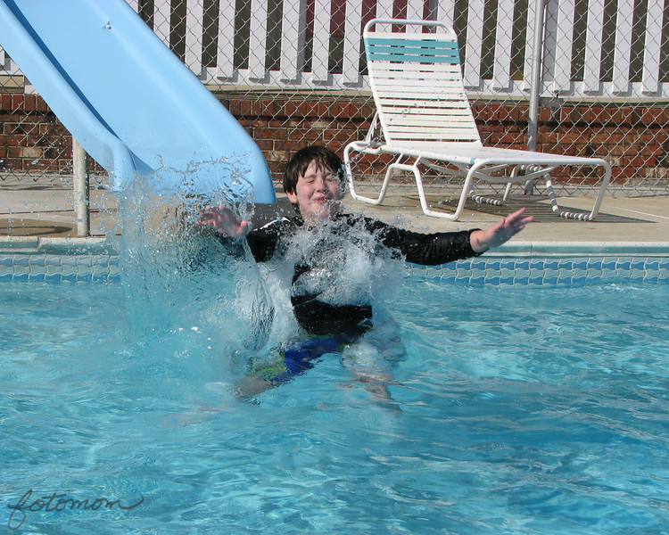 04/20/11 - Hi from Carolina Beach!<br /> <br /> Joey, Johnny, and I are at Carolina Beach having a good time.  The hotel we are at has a heated pool, regular pool, and Jacuzzi.  This is Joey going down the slide into the unheated 62 degree water pool.  He did this about 20 times and then we went back to the heated pool!  He would have stayed longer, but Johnny and I were cold:-)<br /> <br /> We're over to the NC Acquarium this AM and then pool and beach.  Weather is high 80s and sunny.  Should be a great beach day.<br /> <br /> No WiFi at the hotel.  Thank goodness for McD.  The only problem is no play area at this McD, and I have backseat Smug drivers this AM.  <br /> <br /> Thanks for all your comments on the Golden Knights 'art' shot.  I'll catch up when I get home...<br /> <br /> HAGD,<br /> Maryann