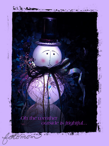 "12/02/10 - Oh the weather outside is frightful...<br /> <br /> 2nd in what could become a snowman series:-)  Certainly 2nd in making Christmas cards I don't need (because my photo cards are already printed).  Just a snowman in my collection.  I found myself stressed and picture of the day less around 10PM last night.  When I don't find time to take a few pics during the day, you know I am having a rough day.  I walked around the house trying to find something to shoot that would be entertaining.  This guy stood out to me.  I illuminated him from behind using a color changing LED light.  It's wrapping paper behind him making the shimmer blue background.  I put the paper on cardboard, cut a small hole in both, taped the LED to the cardboard, and set things in place for the shot.  Here's the set-up:<br /> <br /> <a href=""http://fotomom.smugmug.com/Nature/December-2010/14895654_UF6nz#1111799157_PcBhk"">http://fotomom.smugmug.com/Nature/December-2010/14895654_UF6nz#1111799157_PcBhk</a><br /> I'm sure I took 50 shots trying to get just the right blend of color as the lights changed and the right pose and clarity.  I thought I was going to pick a strongly tinted blue version, but this white/purple one ended up standing out to me more.  In pp, I just up'ed the blue tones a bit and added the frame and words.  <br /> <br /> Thank you for your comments on the autumn leaves from yesterday.  Although many of our leaves are down, really, we have leaves continue to fall into January...just depends on the type of tree.  My yard is a wreck of leaves everywhere, but usually the clean-up is saved for a warmer day in January.<br /> <br /> HAGD,<br /> Maryann"