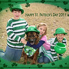 "03/17/11 - Happy St. Patrick's Day from Joey, Blaze, Madi, Johnny and of Course Me<br /> <br /> Joey came up with this idea that we should take a picture of our dog Blaze dressed up for St. Patrick's day.  I agreed knowing what that really meant, and it took us a few days to have good weather and find the time.  Monday after school, the kids and I grabbed the green and Blaze and set out to take a picture. Boy was this a comedy of hats falling off.  Finally, after much repositioning, I was able to get this shot.  My favorite thing about this is that Johnny has the pot o' gold in his mouth and is pretending to be a dog too.<br /> <br /> Madi took this very nice picture of me and Blaze and the boys as well:<br /> <br /> <a href=""http://fotomom.smugmug.com/Nature/March-2011/16046070_gZarf#1218284851_c2wkF"">http://fotomom.smugmug.com/Nature/March-2011/16046070_gZarf#1218284851_c2wkF</a><br /> <br /> The frame is made up of several layers:<br /> Green oval toner scratch on OnOne PhotoFrame<br /> Scatter brush shamrocks (twice)<br /> A few single shamrocks to fill in holes in the scatter<br /> Oval acid burn in grunge category on OnOne PhotoFrame<br /> Line border in grunge category on OnOne PhotoFrame<br /> <br /> The brushes came from:<br /> <br /> <a href=""http://www.obsidiandawn.com"">http://www.obsidiandawn.com</a><br /> <br /> If frames interest you, do check out his St. Patrick's Day shot of just Madi and the frame that I made for it from brushes and OnOne PhotoFrame too:<br /> <br /> <a href=""http://fotomom.smugmug.com/Inspirations/Inspirations/10386893_s5msk#1218191092_XMdoa"">http://fotomom.smugmug.com/Inspirations/Inspirations/10386893_s5msk#1218191092_XMdoa</a><br /> <br /> Thanks so much for all your positive feedback on Madi's portrait yesterday.<br /> <br /> HAGD and wear the green!<br /> Maryann"