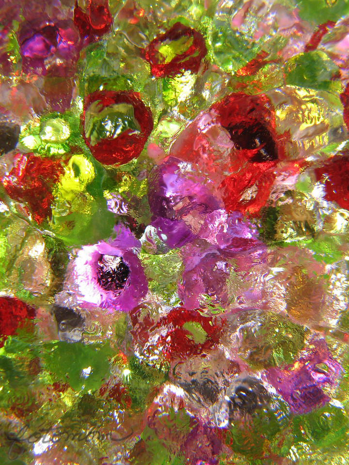 08/08/09 - More glass and beads.  The glass was a small frosted apple-shaped little bowl/plate.  Small green, pink, and red beads on top.  No water:-)  No real pattern here, and that might be the beauty of it.  I like the splash of bright water looking color.  <br /> <br /> Have a great weekend!