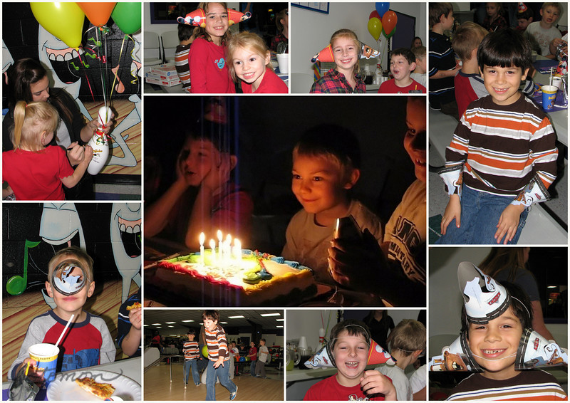 11/14/10 - Eli's 7th Birthday<br /> <br /> The only good thing yesterday was the 3 hours I got to go to Eli's 7th birthday party with the boys.  It was at our local bowling alley again, and it was a lot of fun.  As you can see by the collage, the kids got into some extra fun with the party hats.  How cute!  Not the best shots technically, but I thought they might give you a smile this Sunday.  <br /> <br /> The shot in the center is a snapshot from the non HD video my camera takes.  I then pumped it through OnOne's software to take it from 640X480 up to 1024X768. I have to say that the software does a good job.  Oh, I also filtered it with Noiseware before making it bigger.  If you have a small scanned 4X6 photo and want to print it 8X10 or something OnOne's Genuine Fractals 6.0 can help you do that.<br /> <br /> I have had 2 really tough days on duty, and that's why I barely made any comments yesterday.  My sleep has been totally disrupted.  I hope to be back on schedule today, but if not today, tomorrow for sure.  Thank you very much to those that commented on my yellow leaf tree shot from yesterday.<br /> <br /> HAGD,<br /> Maryann