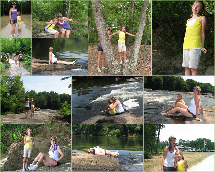 "06/19/11 - Raven Rock State Park<br /> <br /> Happy Father's Day!<br /> <br /> A collage of shots of Madi and her mom, Christine, at Raven Rock State Park.  Upper left is the start of the trail and lower right is the end of the trail.  Lots of fun and thankfully cool water along the way.  6 miles!<br /> <br /> Christine, Madi, and I made the trek over to Raven Rock State Park in Lillington yesterday. We did not go to 'the rock'. Instead, we took the Campbell Creek Loop trail over to Lanier Falls. It's about a 6 mile hike with the falls being at the halfway point. We left early, so the hike to the falls wasn't too bad. There's nice mix of flat, uphill, and downhill on the path. We saw mushrooms, ferns, and lots of neat-shaped trees in the woods. Coming up to the falls was a refreshing site. The water is down this time of year, so we were able to cross over to the big rocks out in the middle of the Cape Fear River and walk around and get our feet wet. We got to see about 10 canoes come up to the rocks and figure out how to pass over. One canoe tried to pass at the wrong spot IMO and tipped. Some of the other boaters came over to help. Of course I took my fair share of pics including a bunch of damselflies. We ate our snack and started back on the loop trail continuing in the direction we had been headed (we did not double back on the loop). The last 1/2 mile is all up hill, and at that point, we were tired and it was in the mid 90s. Ugh. Well worth the walk, though, to go to that great water spot in warm weather. We hope to canoe it ourselves soon or at least have bathing suits and life vests so we can venture in the water a bit more. AC and drinks were a welcome treat once we were back in the car.<br /> <br /> I featured a new gallery of all the shots taken at Raven Rock yesterday here:<br /> <a href=""http://fotomom.smugmug.com/RavenRockStatePark/Raven-Rock-061811/17632653_RQCSnH#1343966112_t6GTDL2"">http://fotomom.smugmug.com/RavenRockStatePark/Raven-Rock-061811/17632653_RQCSnH#1343966112_t6GTDL2</a><br /> <br /> A pano of Lanier Falls is here:<br /> <br /> <a href=""http://fotomom.smugmug.com/Daily-Photos/My-Best-Daily-Shots/8520201_U76qq/1338480084_zMTHGMk#1343996237_QjZwzCh"">http://fotomom.smugmug.com/Daily-Photos/My-Best-Daily-Shots/8520201_U76qq/1338480084_zMTHGMk#1343996237_QjZwzCh</a><br /> <br /> HAGD,<br /> Maryann"