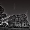 11/03/10 - The Ghosts of Halloween bid you farewell until next year...<br /> <br /> I was very much inspired by a 'haunted house' shot that John Roberts posted over the weekend.  I've been thinking about how to process a spooky house shot for a while now, and seeing his photo...well things started clicking.<br /> <br /> This is a house not too far from my house.  It is not lived in and has peeling paint and broken windows although someone keeps the yard mowed.  There is a picture of the front door that I stylized that's in my POTD gallery a while back.<br /> <br /> Anyway, I stopped to take some bracketed shots on Sunday.  I HDR'ed a few of the sets and then set it aside until last night when I decided to pp it more.  I got rid of a power line, added the ghosts, converted to B&W in PSE, and played around with some color variations in PSE too. The ghost shot is from a neighbor's front porch taken during trick-or-treating. I flipped it, rotated it, and the one in the middle is twirled too:-)  Trying to make one shot of the ghost look like 3 unique shots.  <br /> <br /> Well, I mostly have my Halloween stuff packed up and thought this was a fitting way to end my Halloween photo season for 2010.  Until next year...<br /> <br /> I was excited about your response to my pink ribbon shot from yesterday.  Thank you so much!  Joey was excited too.  I talked to him about what I did to get the shot to 'look like that' too.   He really liked helping.  I was glad to support Tina (Indigo).  Such a great cause.<br /> <br /> HAGD,<br /> Maryann