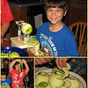 "08/28/11 - Apple Crisp  My blog where the pictures mentioned in the write-up below are inline for viewing:  http://maryanng.blogspot.com  A month of so ago, I ordered the Pampered Chef Apple Peeler Corer from my friend <a href=""http://vollmerdp.blogspot.com/"">Patricia </a> who had a Pampered Chef party.  I'd always wanted one having seen one demoed in person years ago at another party. Although not inexpensive by any means, I decided that this was the party/year to get it.  As with many things, it takes me a bit to get the time to read about them and set them up.  But with hurricane Irene giving us yucky weather, yesterday seemed like the day to sort it out.  8 screws to set up the platform wasn't too bad and then watching a video on YouTube gave me a good demo on top of the hand written instructions on just how to 'make it work'.  I had two eager helpers ready to test the first apple.  Success!  Wow!  Ooooh  Aaaah!    Here's a video of Johnny with the first apple:  Video Link  http://www.youtube.com/watch?v=ZgJxWhU-WtA  And just to prove that boys and men of all ages love their gadgets:  SmugMug Link  http://fotomom.smugmug.com/Nature/August-2011/18330920_7pCmrW#1451262944_pn6ngvS  SmugMug Link  http://fotomom.smugmug.com/Nature/August-2011/18330920_7pCmrW#1451262954_v2w8BPZ  Hard to say what was more fun.  Turning the crank fast or watching the peel spaghetti get created or lifting the apple spirals and playing with them (clean hands of course).    A few things to note.  If you have a table that you can attach the apple peeler corer too, that may actually be better than buying the fancy base.  As you can see in the video, Johnny had trouble holding the base still...trouble he would not have had on a table.  Besides peeling and coring, this things slices too.  The slices might be a tad thin for some pies, but worked just fine in my apple crisp.  I did thoroughly wash and dry the apples first.    Mushy apples don't work anywhere near as well.    Hungry for apple pie?  ;-)  Irene update: Irene ended up going just far enough East of Raleigh to spare us too much trouble.  I have lots of large chunks of leaves down in my yard and a few small limbs.  When I walked Blaze, I started picking up.  We lost power twice but just for a few minutes so no impact short of startling the kids.  We did have a few gusts of wind that caused me to hold my breath, but nothing that had me white knuckled for any real amount of time.  We've seen much worse and my heart goes out to those who were truly affected by the storm."
