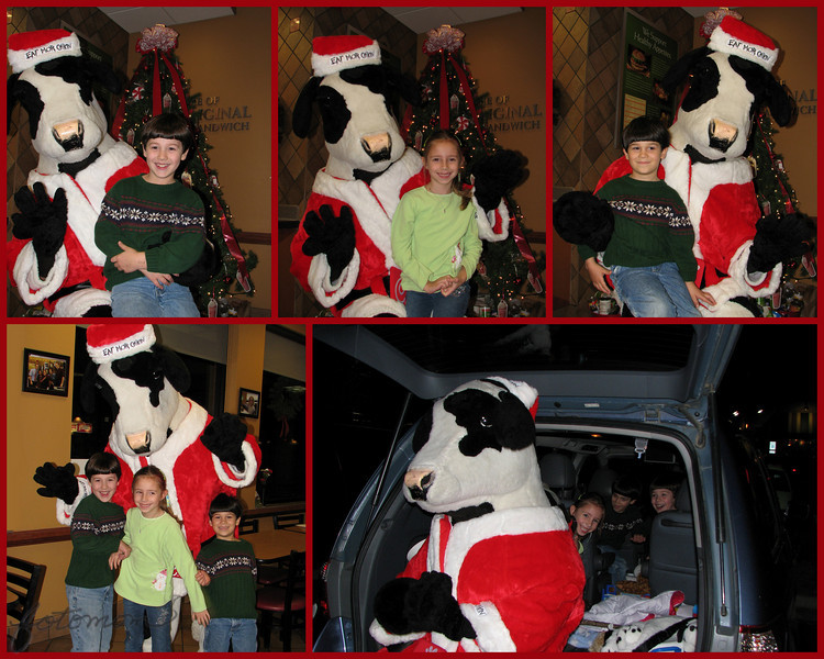 12/23/09 - Santa Cow<br /> The Fuquay Chick-fil-A usually has the cow in the store on Tuesdays from 5-7.  We had heard that Santa Cow would be making a trip this Tuesday, and the kids really wanted to go see him.  So.....  What a great time!  I couldn't have asked for better photo ops and more smiling faces.  And then, when we were leaving, I nearly got to take an unexpected passenger home with me!  Whoever plays this cow apparently can see really well in that costume and just does a great job manuevering around and making the kids happy.   I thanked him/her profusely.  <br /> <br /> No lost keys, SD cards, or wallet yesterday.  What a relief:-)  <br /> <br /> I'm sorry I'm in snapshot mode, but it's that time of the year.  Unfortunately, just eye doctor appointments today...nothing as exciting as the last two days.  I am hoping to make the zoo next week.<br /> <br /> HAGD,<br /> Maryann