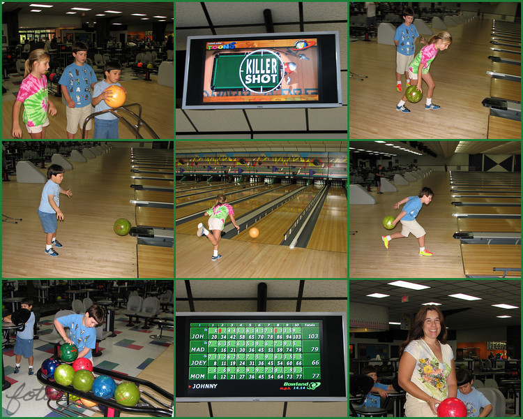 08/22/10 - Get a Strike!<br /> I'm sorry that this is all I have to offer today, but the only pics I took yesterday were kid shots.  In the morning we played the Wii (Mario Kart, Outdoor Life, Just Dance!), and in the afternoon, we went to the bowling alley.  I guess this is their 6th time maybe.  They are just starting to push the ramp aside sometimes and try to actually throw the ball down the lane.  Sometimes it drops or goes VERY slowly, but other times it was rolling down pretty good.  You'll notice the bumper guards up for the kids.  Even though I have barely been bowling more than they have, I put the guards down for me (and my score shows it:-).  Oh well, it's just for fun, right?  Not being good at something never stopped me from enjoying it just the same.  <br /> <br /> If you go to the bowling alley with little kids:<br /> 1. There will be at least one loud ball drop in your area that causes everyone to look at YOU.<br /> 2. The kids will demand snacks even if you feed them right before you come and again right after you leave.<br /> 3. At least one finger will get crushed in the ball return.<br /> 4. The children will insist on having one of every pattern and weight ball in the alley on their ball return.<br /> 5. And, everyone will have the biggest smile of delight as somehow they get a strike or a spare.<br /> <br /> I had my glory on the Galaga machine in the arcade area.  Joey's eyes were huge as he saw me ace several of the challenge stages and get to level 14 before the kids started pestering me for more tokens.  I told him his Mom could play!  For a few minutes it was 1984 and I was in high school and it was great!<br /> <br /> Joey has a sore throat and stuffy head today, so I'm not sure how much we'll get to do today:-(<br /> <br /> I hope you're having a great weekend with family and taking pics.<br /> Maryann