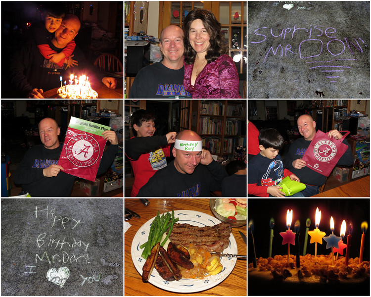 "02/05/12 - Happy Birthday Donnie!  My Blog:  http://maryanng.blogspot.com/2012/02/happy-birthday-donnie.html  We celebrated Donnie's birthday a day early with a special birthday dinner last night.  The kids decorated the driveway with very sweet messages done in chalk to welcome his arrival.  I fixed NY Strip Steaks, asparagus, <a href=""http://thepioneerwoman.com/cooking/2009/04/roasted-potato-wedges/"">PW's Roasted Potato Wedges</a>, salad, sauteed onions and squash, and of course for the finale his favorite...a carrot cake from <a href=""http://www.stickboyfuquay.com/"">Stick Boy Bread Company</a>.  I gave him 4X6 <a href=""http://fotomom.smugmug.com/Children/Shots-to-Print-2011-and-2012/21137657_mWkkLR#!i=1681617469&k=Z5RdGhj"">prints</a> taken over the past 3 months of all the fun things we'd done and some Alabama Crimson Tide logo items.   There was a special card too:  <a href=""http://fotomom.smugmug.com/Inspirations/Inspirations/10386893_GcQ4rP/1691957885_7SCrvS7#!i=1699354589&k=q6S2g6C"">SmugMug Link</a>  He was such a good sport about the homemade paper Birthday Boy hat:-)  Here's a cute video with the boys singing Happy Birthday:  <a href=""http://youtu.be/2mEXNrjYZf0"">Video</a>  The cake had special star candles and other candles that had colored flames.  It was pretty and everyone was patient while I got the picture and angle I wanted.   For someone that means so much to me and who has been there for me during all my struggles in the past year, I definitely wanted to let Donnie know how much he's appreciated and loved.  I think if you ask him if he had a good birthday he'll give a resounding yes.  Here's to  many more wonderful celebrations in our future birthday and otherwise.  Thanks for your supportive comments on my Valentine's Day Card series...  HAGD and enjoy the Superbowl! Maryann"