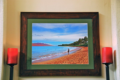 January 24  For Christmas I gave my husband this photo of him experiencing his favorite place on the planet! The first week of July, 2007 we were staying in the Kihei area of Maui. We went for our early morning walk; the sun was behind me.  The photo itself  is 18 x 24, and he has chosen to hang it above our fireplace.