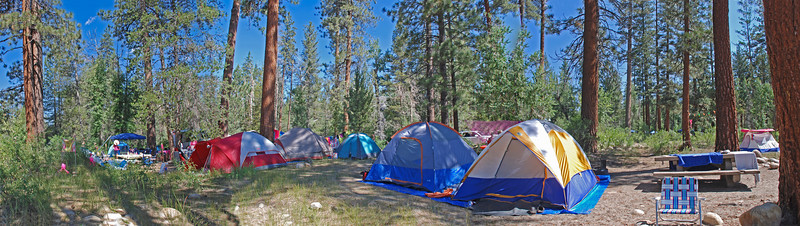 September 17   The Ladies Camping Trip    Three of the tents and the trailer  are not visible from this perspective.  I've included two other perspectives here  This is our favorite campsite at this particular campground;  the South Fork of the San Jaquin River is flowing just to the left!  *three shot panorama*
