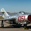 "Mokoyan-Gurevich MIG-15<br /> <br /> The Mikoyan-Gurevich MiG-15 (Russian: Микоян и Гуревич МиГ-15; NATO reporting name: ""Fagot"") is a jet fighter aircraft developed by Mikoyan-Gurevich OKB for the Soviet Union. The MiG-15 was one of the first successful swept-wing jet fighters, and achieved fame in the skies over Korea, where early in the war, it outclassed all straight-winged enemy fighters in most applications.<br /> <br /> Later, the MiG-15 would also serve as a starting point for the development of the more advanced MiG-17. The MiG-15 is believed to have been one of the most widely produced jet aircraft ever made, in excess of 12,000 were manufactured. Licensed foreign production may have raised the production total to over 18,000 The MiG-15 is often mentioned along with the North American F-86 Sabre as among the best fighter aircraft of the Korean War and in comparison with fighters of other eras. <a href=""http://en.wikipedia.org/wiki/Mikoyan-Gurevich_MiG-15"">http://en.wikipedia.org/wiki/Mikoyan-Gurevich_MiG-15</a><br /> <br /> Planes of Fame Air Show, May 3-4, 2014<br /> Chino Airport<br /> Chino, CA <br /> <br /> Thank you for your views and comments!<br /> <br /> Critiques welcome...<br /> <br /> 10 July 2014"