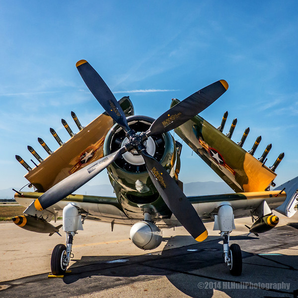 """Douglas A-1E(AD-5) Skyraider...<br /> <br /> The Douglas A-1 Skyraider (formerly AD) was an American single-seat attack aircraft that saw service between the late 1940s and early 1980s. It became a piston-powered, propeller-driven anachronism in the jet age, and was nicknamed """"Spad"""", after the French World War I fighter. The Skyraider had a remarkably long and successful career, even inspiring its straight-winged, slow-flying, jet-powered successor, the A-10 Thunderbolt II. <a href=""""http://en.wikipedia.org/wiki/Douglas_A-1_Skyraider"""">http://en.wikipedia.org/wiki/Douglas_A-1_Skyraider</a><br /> <br /> Planes of Fame Air Show, May 3-4, 2014<br /> Chino Airport<br /> Chino, CA  <a href=""""http://planesoffame.org/"""">http://planesoffame.org/</a><br /> <br /> Thanks for your views and comments, much appreciated!<br /> <br /> Critiques welcome...<br /> <br /> 25 July 2014"""