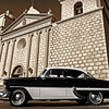 """Santa Barbara Mission...<br /> <br /> I'm guessing this is about a 1952 Chevy. I thought the old black and white Chevy looked kind of neat parked in front of the old Mission. I debated on sepia or color, sepia won : ). The color version can be viewed here: <a href=""""http://hlhull.smugmug.com/Daily-Photos/Santa-Barbara-2014/i-7vbXP2D/0/XL/P1000439_edited-2-XL.jpg"""">http://hlhull.smugmug.com/Daily-Photos/Santa-Barbara-2014/i-7vbXP2D/0/XL/P1000439_edited-2-XL.jpg</a>   What do you think?<br /> <br /> Santa Barbara, CA    <a href=""""http://en.wikipedia.org/wiki/Mission_Santa_Barbara"""">http://en.wikipedia.org/wiki/Mission_Santa_Barbara</a><br /> <br /> Thanks for your views and comments, much appreciated!<br /> <br /> Critiques welcome...<br /> <br /> Update: Papamugger thinks it's probably a '54. That's good enough for me, a '1954 it is! Thanks Papa!<br /> <br /> 4 March 2014"""