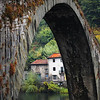 "November 29, 2010 - ""Bridge of the Devil""<br /> <br /> This is the first of a photo series this week that were shot in the rain and fog.  All the images were shot from on or adjacent to this bridge on the Serchio River in Italy.  The rain drops on the river are visible in the enlarged version.<br /> <br /> ""Ponte della Maddalena (Italian: ""Bridge of Mary Magdalene"") is a bridge crossing the Serchio river near the town of Borgo a Mozzano in the Italian province of Lucca.[1][2]. One of numerous medieval bridges known as Ponte del Diavolo, the ""Bridge of the Devil"", it was a vital river crossing on the Via Francigena, an early medieval road to Rome for those coming from France that was an important medieval pilgrimage route.<br /> The bridge is a remarkable example of medieval engineering, probably commissioned by the Countess Matilda of Tuscany circa 1080-1100. It was renovated circa 1300 under the direction of Castruccio Castracani. The largest span is 37.8 m. The bridge is also described in a 14th century novella by Giovanni Sercambi of Lucca.<br /> Circa 1500 it took on the name of Ponte della Maddalena, from an oratory dedicated to Mary Magdalene, whose statue stood at the foot of the bridge on the eastern bank.""<br /> <br /> From Wikipedia, the free encyclopedia - November 28, 2010"