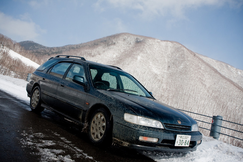 A shot of my dirty, very much in the need of a wash, honda accord. <br /> I love having a car to drive in Hokkaido. It's so much fun to explore so many new and beautiful places on this island that I wouldn't be able to see without a car. I hope to do a road trip once the weather becomes a bit warmer. I can't believe Winnipeg, what must be one of the coldest cities on earth is having a warmer winter than we are. Spring's next week!
