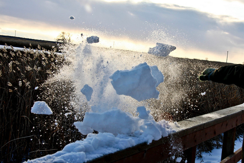 Karate chopping snow blocks
