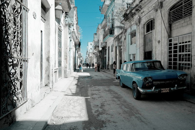 One of the typical street scenes in old Havana