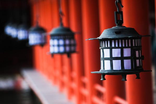 Lanterns at the famous shrine on Miyajima.